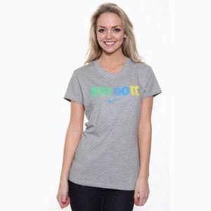 Nike Just Do It Grey Logo Short Sleeve Tee Shirt L